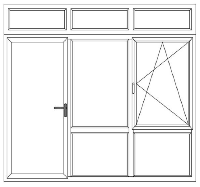3-delig met bl deur - vast raam bw - dk raam bw