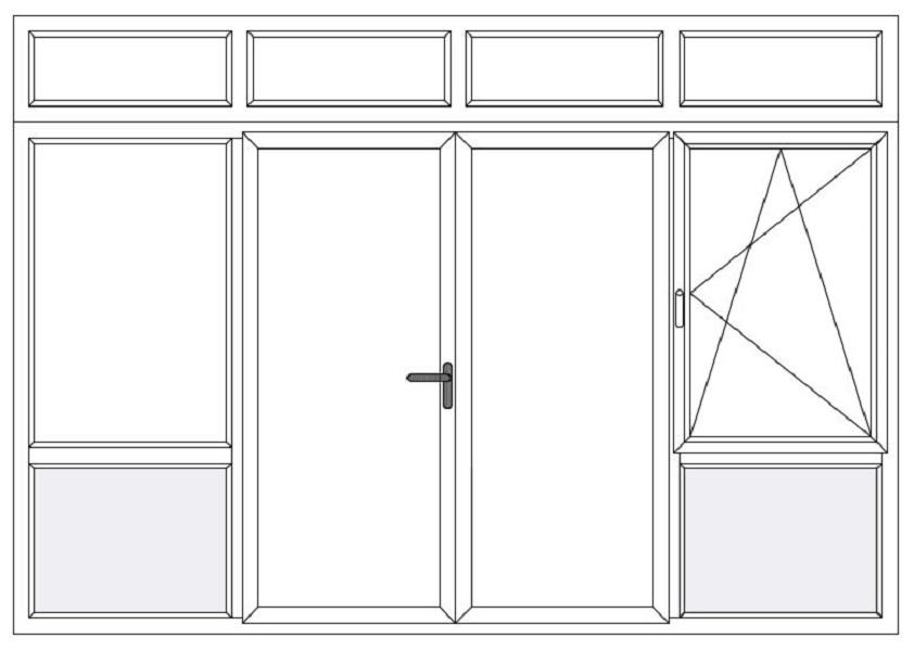4-delig met bl vast raam bw - dubb. deur - dk raam bw