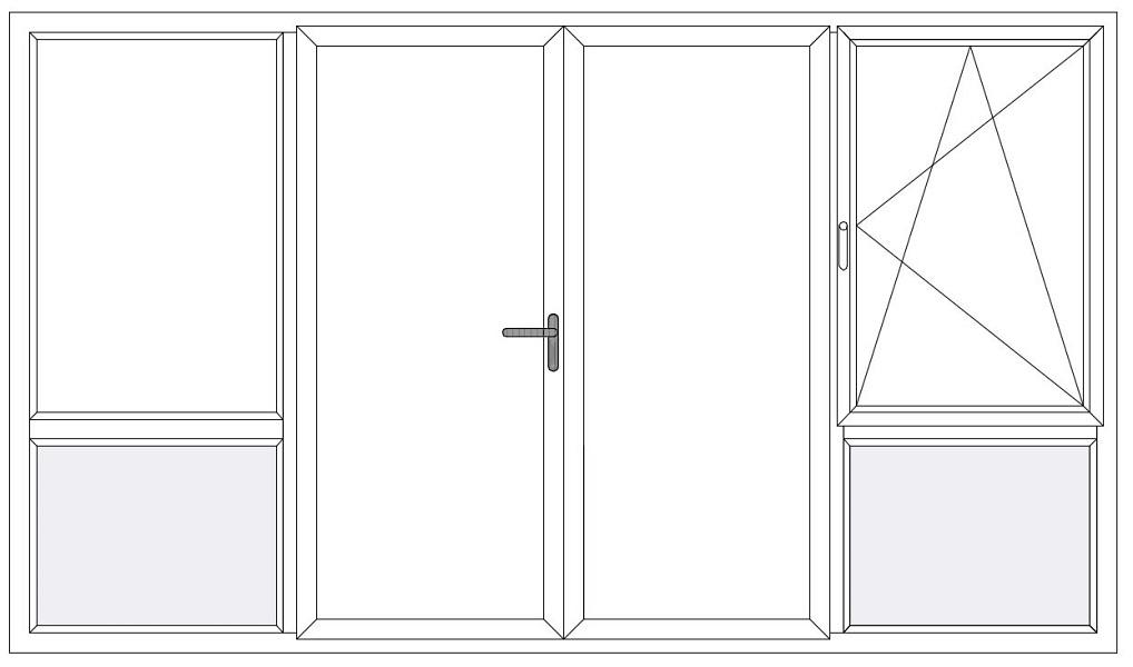 4-delig vast raam bw - dubb. deur - dk raam bw